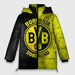 Женская зимняя 3D-куртка с капюшоном с принтом Borussia Dortmund, цвет: 3D-черный, артикул: 10063904606071 — фото 1