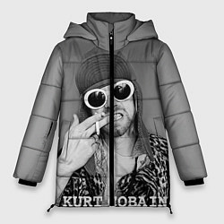Женская зимняя 3D-куртка с капюшоном с принтом Кобейн в очках, цвет: 3D-черный, артикул: 10063914506071 — фото 1