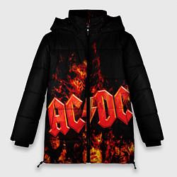 Женская зимняя 3D-куртка с капюшоном с принтом AC/DC Flame, цвет: 3D-черный, артикул: 10063952006071 — фото 1
