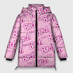 Женская зимняя 3D-куртка с капюшоном с принтом Bitch Pattern, цвет: 3D-черный, артикул: 10064282306071 — фото 1