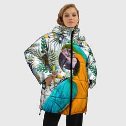 Женская зимняя 3D-куртка с капюшоном с принтом Летний попугай, цвет: 3D-черный, артикул: 10065274106071 — фото 2