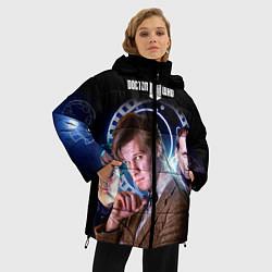 Женская зимняя 3D-куртка с капюшоном с принтом Одиннадцатый Доктор, цвет: 3D-черный, артикул: 10065373106071 — фото 2