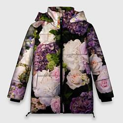 Женская зимняя 3D-куртка с капюшоном с принтом Весенние цветы, цвет: 3D-черный, артикул: 10067033306071 — фото 1