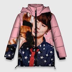 Женская зимняя 3D-куртка с капюшоном с принтом BTS: Love Me, цвет: 3D-черный, артикул: 10071615506071 — фото 1