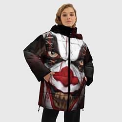 Женская зимняя 3D-куртка с капюшоном с принтом Зомби клоун, цвет: 3D-черный, артикул: 10072074206071 — фото 2