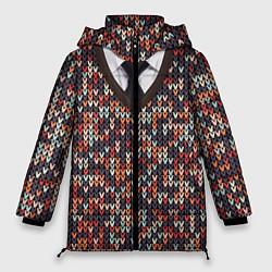 Куртка зимняя женская Вязанный узор с галстуком цвета 3D-черный — фото 1