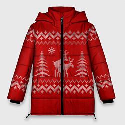 Куртка зимняя женская Олени под елками - фото 1