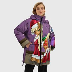 Женская зимняя 3D-куртка с капюшоном с принтом Pinky Pie: Xmas, цвет: 3D-черный, артикул: 10076390606071 — фото 2