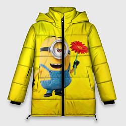 Куртка зимняя женская Цветочек цвета 3D-черный — фото 1