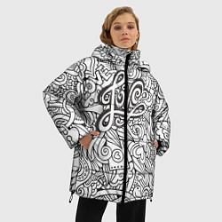 Женская зимняя 3D-куртка с капюшоном с принтом Love графика, цвет: 3D-черный, артикул: 10081366106071 — фото 2
