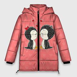 Женская зимняя 3D-куртка с капюшоном с принтом Влюбленные пингвины, цвет: 3D-черный, артикул: 10081995506071 — фото 1
