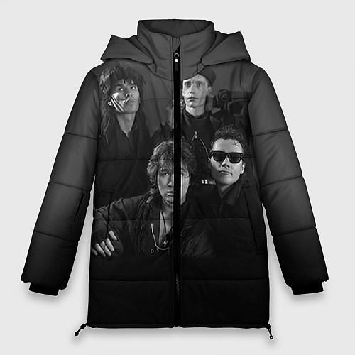 Женская зимняя куртка Группа Кино / 3D-Черный – фото 1
