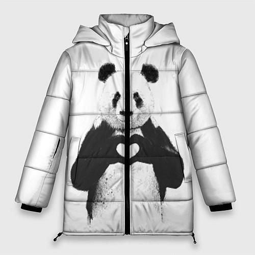 Женская зимняя куртка Panda Love / 3D-Черный – фото 1