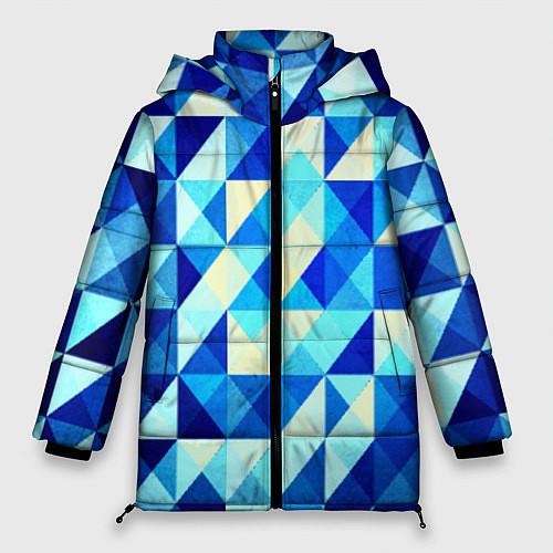 Женская зимняя куртка Синяя геометрия / 3D-Черный – фото 1