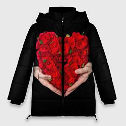 Женская зимняя 3D-куртка с капюшоном с принтом Сердце роз в руках, цвет: 3D-черный, артикул: 10083686306071 — фото 1