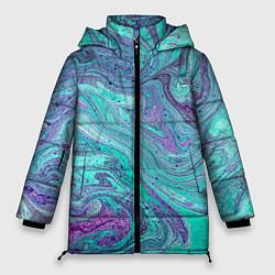 Женская зимняя 3D-куртка с капюшоном с принтом Смесь красок, цвет: 3D-черный, артикул: 10086924806071 — фото 1