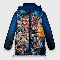 Женская зимняя 3D-куртка с капюшоном с принтом Iron Maiden: Skeletons, цвет: 3D-черный, артикул: 10089879506071 — фото 1