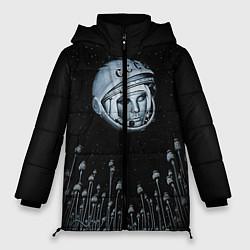 Женская зимняя 3D-куртка с капюшоном с принтом Гагарин в небе, цвет: 3D-черный, артикул: 10091680706071 — фото 1