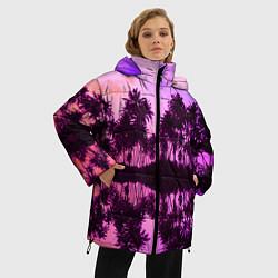 Женская зимняя 3D-куртка с капюшоном с принтом Hawaii dream, цвет: 3D-черный, артикул: 10096437206071 — фото 2