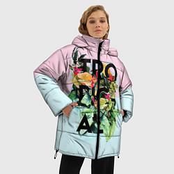 Женская зимняя 3D-куртка с капюшоном с принтом Tropical Art, цвет: 3D-черный, артикул: 10096481906071 — фото 2