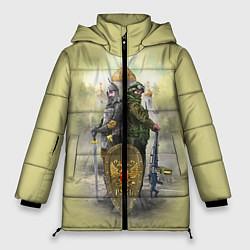Женская зимняя 3D-куртка с капюшоном с принтом Имперская русь, цвет: 3D-черный, артикул: 10096755806071 — фото 1