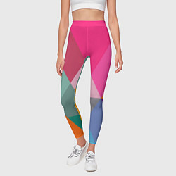 Леггинсы женские Разноцветные полигоны цвета 3D — фото 2