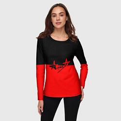 Лонгслив женский АлисА: Черный & Красный цвета 3D — фото 2