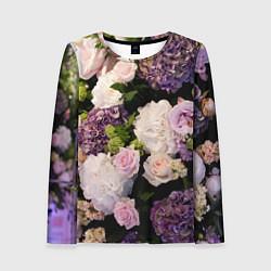 Лонгслив женский Весенние цветы цвета 3D — фото 1