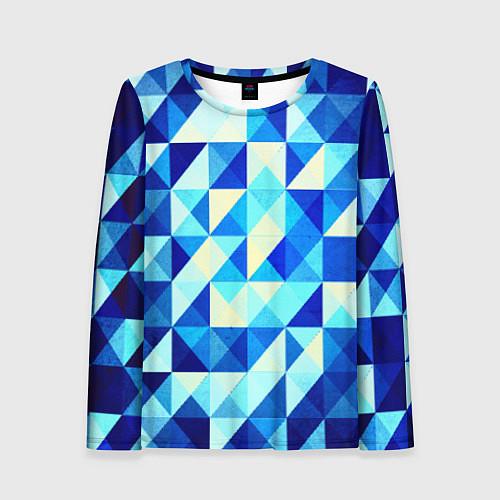 Женский лонгслив Синяя геометрия / 3D – фото 1