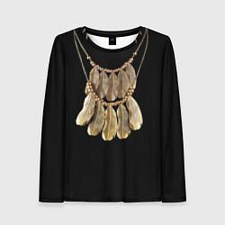 Лонгслив женский Золотые перья цвета 3D — фото 1
