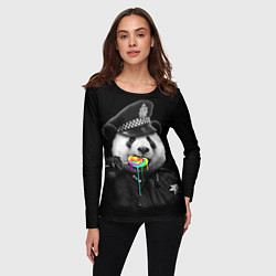 Лонгслив женский Панда с карамелью цвета 3D — фото 2