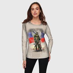 Лонгслив женский Солдат и дитя цвета 3D — фото 2
