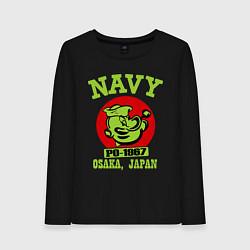 Лонгслив хлопковый женский Navy: Po-1967 цвета черный — фото 1