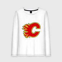 Лонгслив хлопковый женский Calgary Flames цвета белый — фото 1