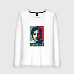 Лонгслив хлопковый женский Lennon Imagine цвета белый — фото 1