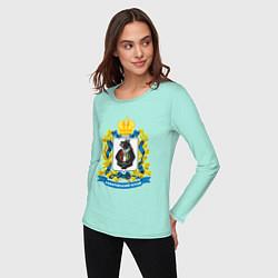 Лонгслив хлопковый женский Хабаровский край цвета мятный — фото 2