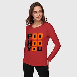Лонгслив хлопковый женский Poo hoo you цвета красный — фото 2