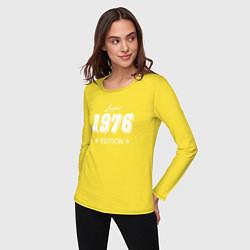 Лонгслив хлопковый женский Limited Edition 1976 цвета желтый — фото 2