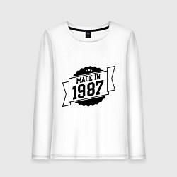 Лонгслив хлопковый женский Made in 1987 цвета белый — фото 1