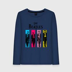 Лонгслив хлопковый женский Walking Beatles цвета тёмно-синий — фото 1
