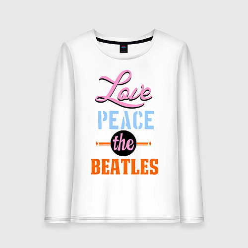 Женский лонгслив Love peace the Beatles / Белый – фото 1
