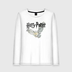 Лонгслив хлопковый женский Гарри Поттер: Букля цвета белый — фото 1