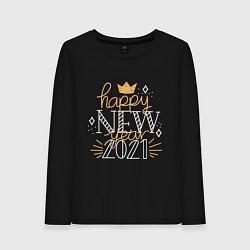 Лонгслив хлопковый женский Happy New Year 2021 цвета черный — фото 1