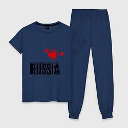 Пижама хлопковая женская Russia Leaf цвета тёмно-синий — фото 1