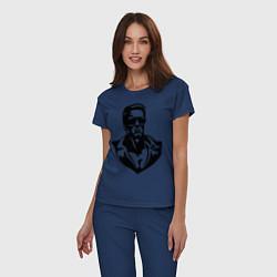 Пижама хлопковая женская Железный Арни цвета тёмно-синий — фото 2