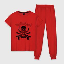 Пижама хлопковая женская Motorhead цвета красный — фото 1