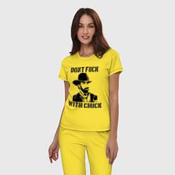 Пижама хлопковая женская Dont Fuck With Chuck цвета желтый — фото 2