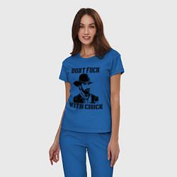 Пижама хлопковая женская Dont Fuck With Chuck цвета синий — фото 2