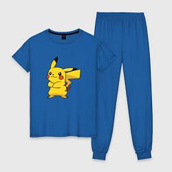 Пижама хлопковая женская Злой Пикачу цвета синий — фото 1