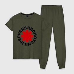 Пижама хлопковая женская Red Hot Chili Peppers цвета меланж-хаки — фото 1